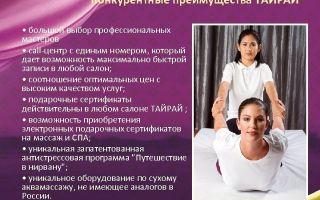 Франшиза «Тайрай» — салона Тайского массажа и спа