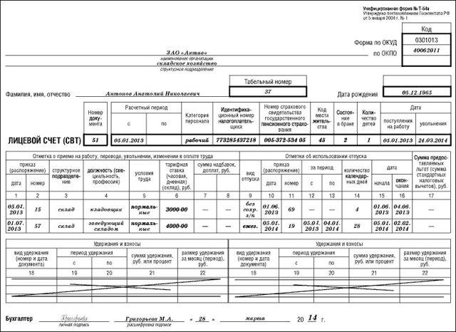 Форма лицевого счета работника Т-54 и Т-54а - скачать бланк бесплатно