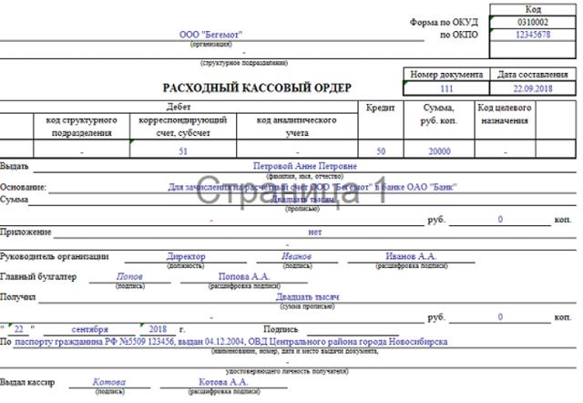 Расходный кассовый ордер форма КО-2: скачать бланк РКО