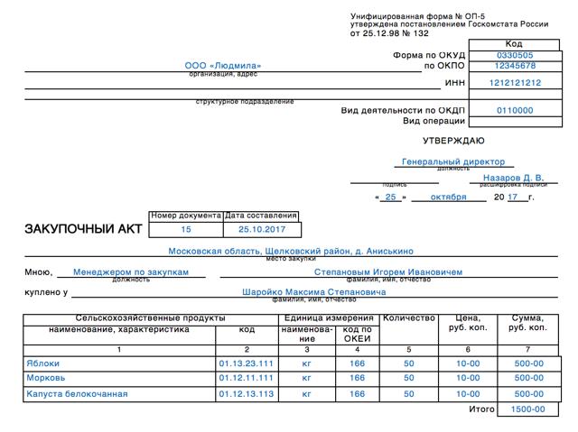 Закупочный акт форма ОП-5 - скачать бланк бесплатно