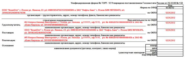 Заполнение товарной накладной ТОРГ-12: образец и инструкция
