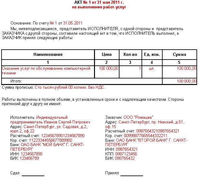 Акт выполненных работ - скачать образец (бланк) бесплатно